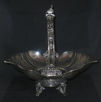 Meriden Britannia Silverplate Swing Handle Bride's Basket #1669 Bird Finial