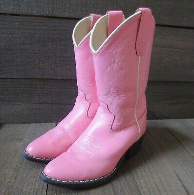 Girls Pink Leather Cowgirl Boots Old West J Toe Western Cowboy 13.5 Child 13 1/2