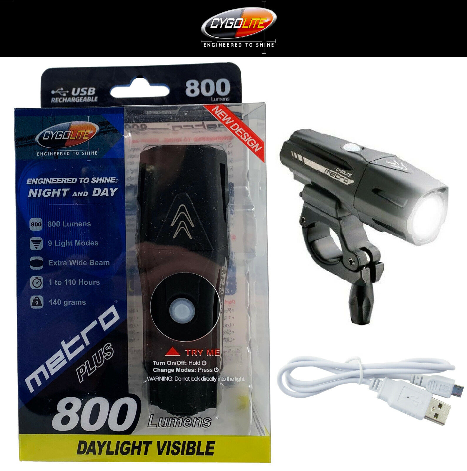 Cygolite Metro Plus 800 Lumens Headlight Bike Light USB Rech