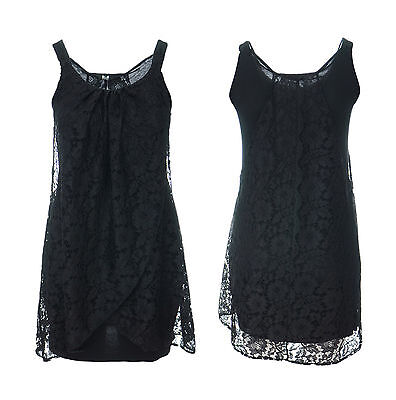 Kleid Stretch Lace Top (Sexy New Black Lace Draped Stretch Black Tunic Dress Top Size 16 to 26 *LICK*)