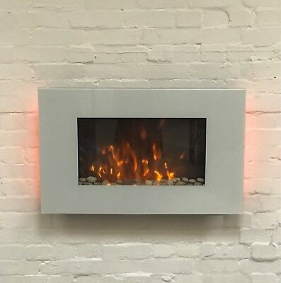 Galleon Fires - Phoenix Wall Mounted Electric Fire White Flat Glass Large 90cm