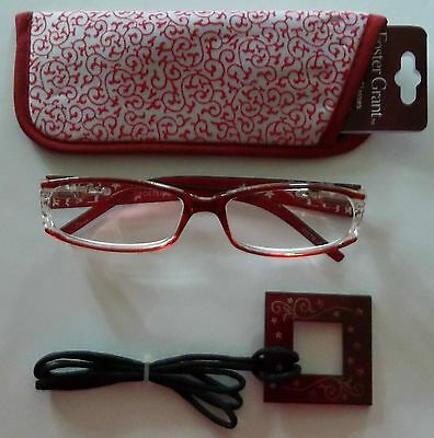 Foster Grant Red Reading Glasses Eyeglass Cord Compact Readers with Case +1.00