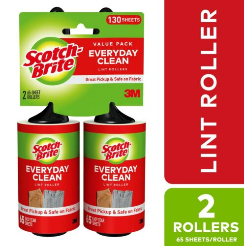 Scotch-Brite Lint Roller Twin Pack, 65 Sheets per Roller, 2 Count