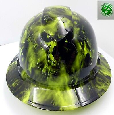 Full Brim Hard Hat Custom Hydro Dipped New Lime Green Hades Hot New