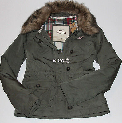 HOLLISTER by Abercrombie Womens Fur Trim Down Bomber Parka Jacket Coat Olive S