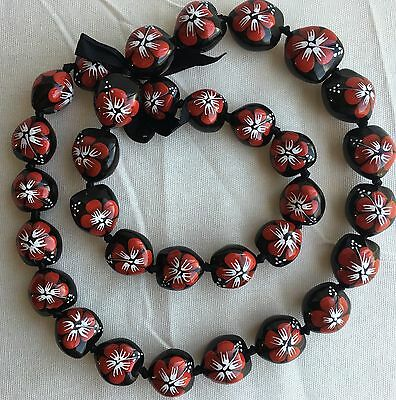 Kukui Nut Lei Hibiscus Red Flower Necklace Hawaiian Wedding Luau Graduation
