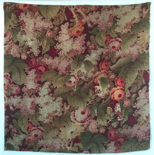 Beautiful 19th C. French Napolean III Wool Challis Floral Printed Fabric (2292)