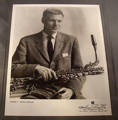 Original 1950's 8 x 10 Publicity Photo Gerry Mulligan with Baritone Saxophone