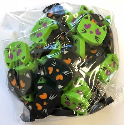50 Mini Halloween Kitty Cat Shaped Erasers Teacher Supply Sorting Math Counter  (Halloween Math)