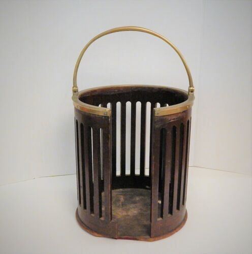 Fine Antique Georgian Mahogany Brass Bound Plate Bucket Hinged Handle  c. 1770