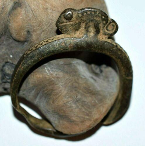 Antique African Senufo Bronze Chameleon Diviners Prescription Patient
