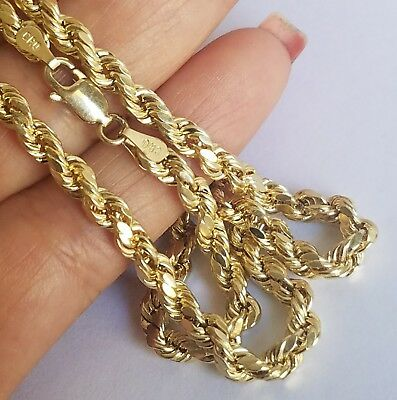 Long 4mm Rope (14k yellow gold rope chain 24 inches long 4 mm)
