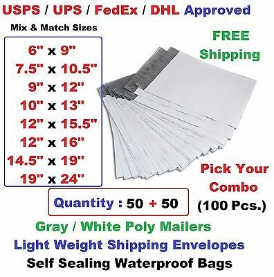Pick Your Combo 100 5050 Poly Mailers Shipping Envelopes Plastic Mailing Bags