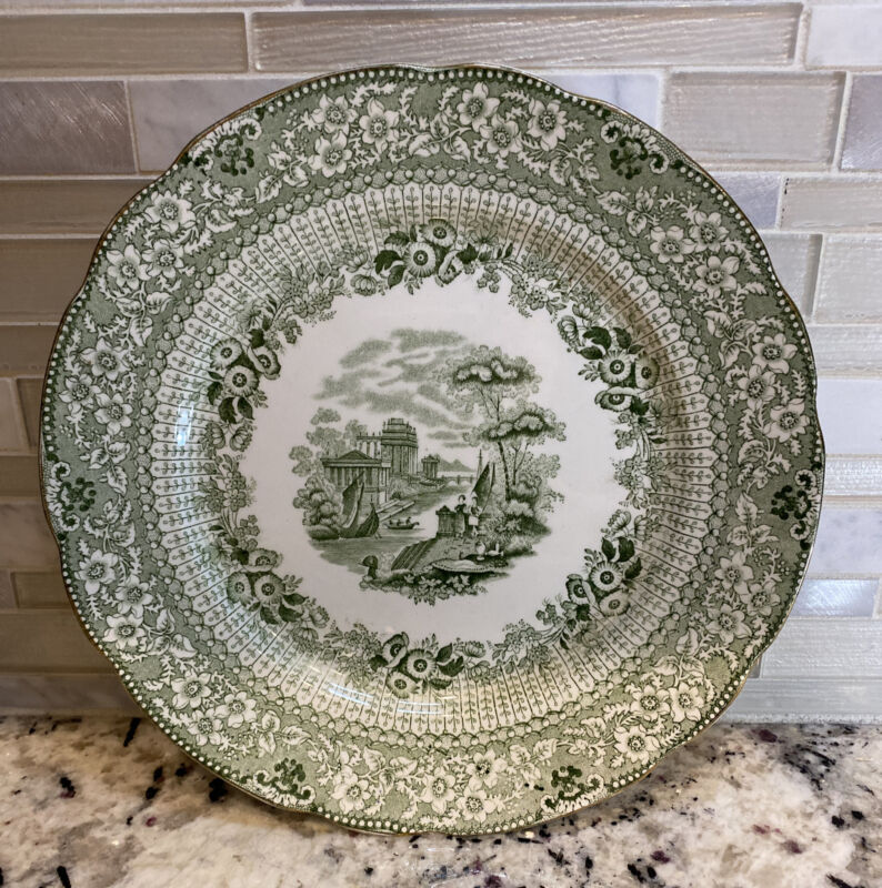 Antique Ridgway Green Transferware Dinner Plate Grecian Pattern