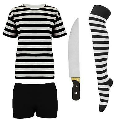 Womens Pugsley Addams Fancy Dress Costume Halloween Family Couples Idea Stripe