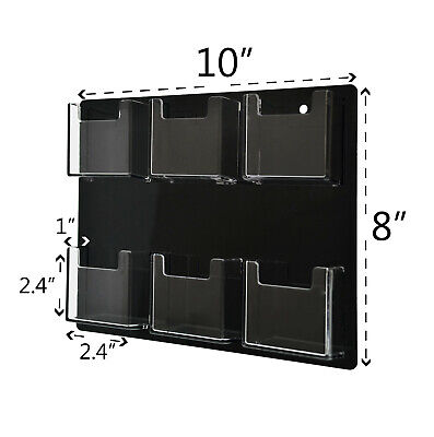 Business Card Holder 6 Pocket Wall Mount Vertical Clear With Black Backing