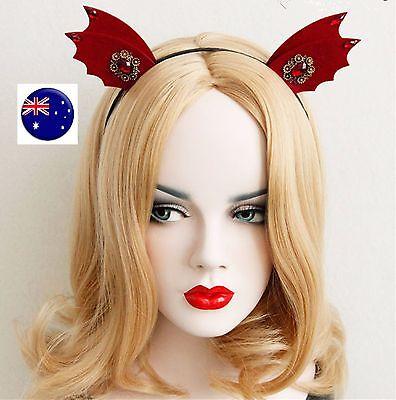 Women Girl Red Devil bat Ear Halloween Costume Party Hair Headband Band PROP ](Halloween Bat Ears)