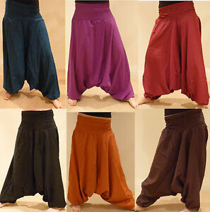 HAREM-TROUSERS-HIPPY-BOHO-ALADIN-ALIBABA-GENIE-JUMPSUIT-Baggy-Pants-YOGA-Cotton
