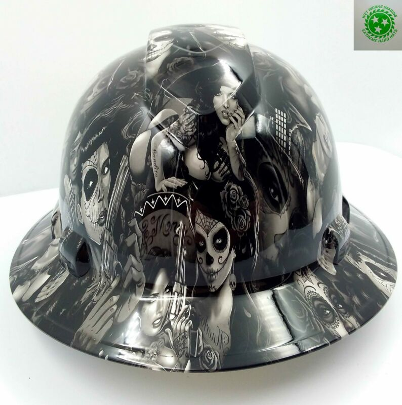 FULL BRIM Hard Hat custom hydro dipped , NEW TATTOO BABES HI DEF  NEW