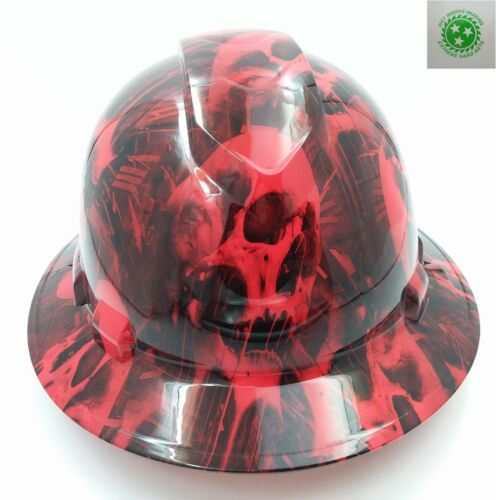 Hard Hat FULL BRIM custom hydro dipped, NEW RED MELTING SKULL EVIL SUPER SICK
