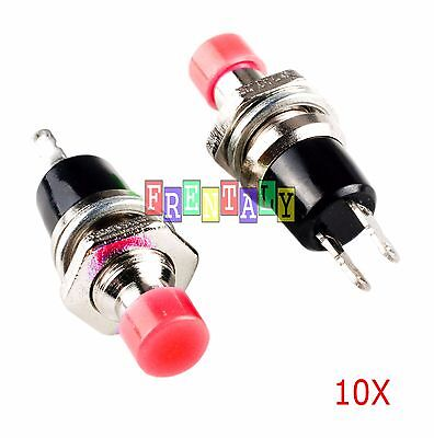 Red 10Pcs Mini Momentary On/Off Lockless Micro Push Button SPST Switch