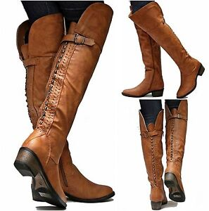 New Womens SRh15 Tan Studded Riding Over the Knee High Boots Sz 7 ...
