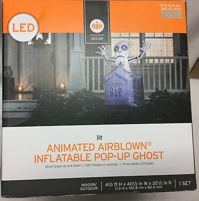 Animated  Airblown Inflatable Pop-Up Ghost Yard Prop LED Lit for Holloween - Ghost Props