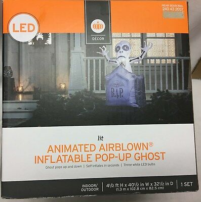 Animated  Airblown Inflatable Pop-Up Ghost Yard Prop LED Lit for Holloween - Holloween Props