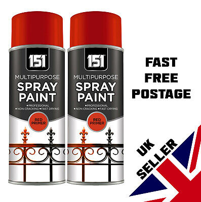 Red Primer Aerosol Paint Spray Multipurpose250ml x 3 Cans Quick Dry DIY Easy