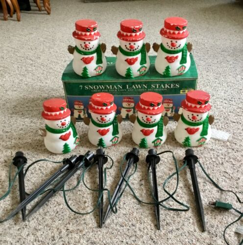 Vintage Snowman Lawn Stake Lights Christmas Blow Mold Set of 7 Light , All Work
