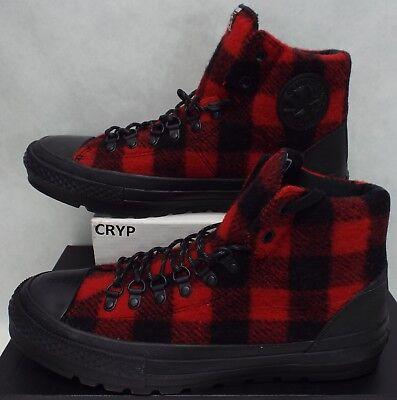 New Mens 9.5 Converse CTAS Street Hiker Hi Black Red Plaid Boots $100 153833C