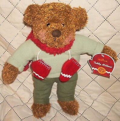 "HALLMARK Plush 12"" Teddy Bear with Winter Scarf & Mittens 100th Anniversary with"