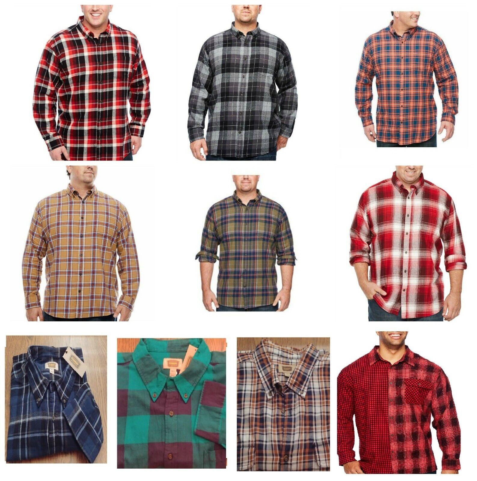 Foundry Men's Shirt LS Plaid Flannel XLT, 2XL, 2XLT, 3XL 3XL