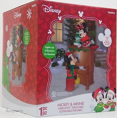 Christmas Disney 7.5 ft Light Up Mickey & Minnie Mouse Piano Airblown Inflatable