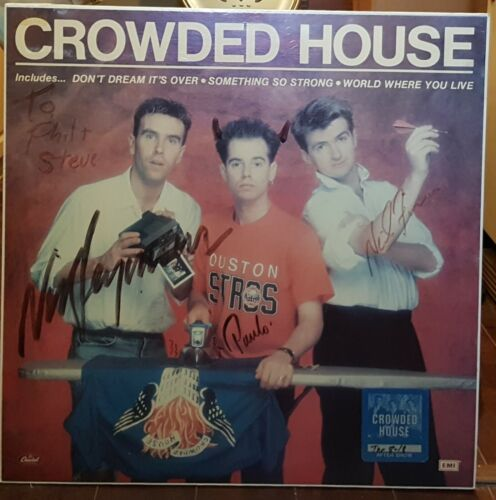 Crowded House - Promo Poster Signed by 3 founding members at EMI/Capitol Canada