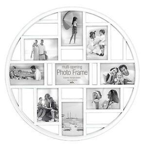 Circular Multi Aperture Photo Picture Frame - Holds 9 X 6''X4'' Photos - White