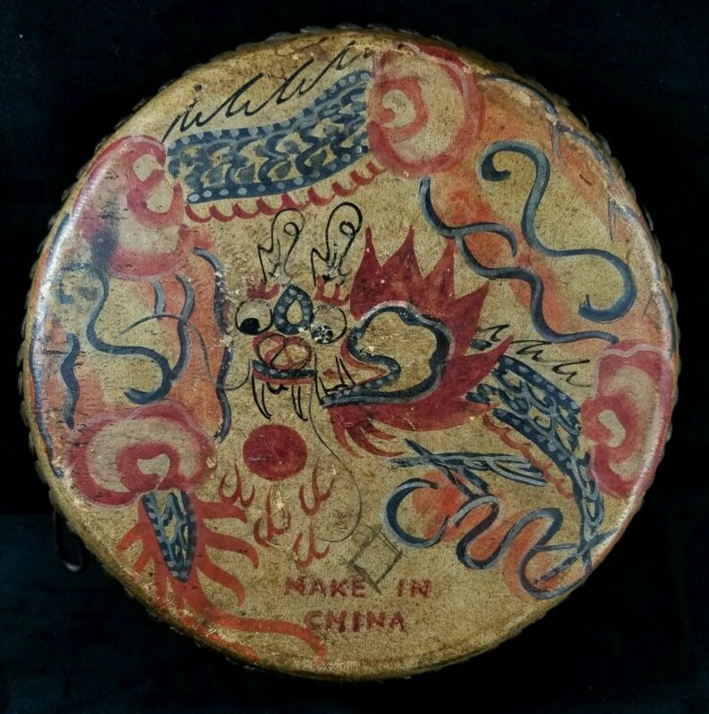"""Vintage 1920s To 1930s Dbl Sided Chinese Drum Dragon & Rooster Motifs 4.5""""x9.7"""""""