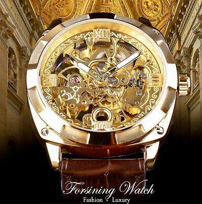 Forsining Mens Skeleton Mechanical Waterproof Luxury Watch Leather Gift Idea