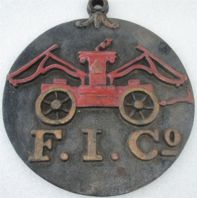 FIRE MARK F.I.Co Fire Insurance Co of Baltimore Iron Pumper Plaque P-MARKER/SIGN