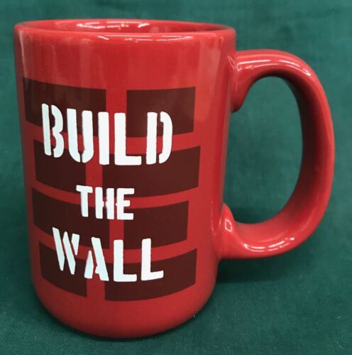 Build the Wall Trump Red Ceramic Coffee Mug Tea Cup Made in USA