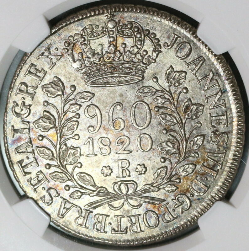 1820-R NGC MS 62 Brazil 960 Reis Overstruck Bolivia Silver 8 Reales (19100406C)