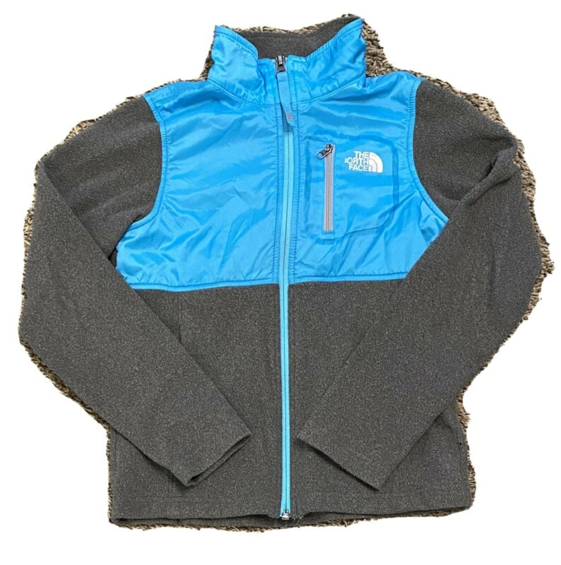 The North Face Girl's Gray/Blue Full Zip Lightweight Fleece Jacket Sz Small 7/8