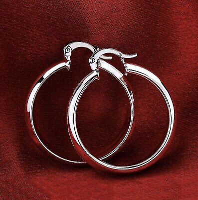 "Women's Classic 925 Sterling Silver 1.75"" Medium-Size Round Hoop Earrings E1"