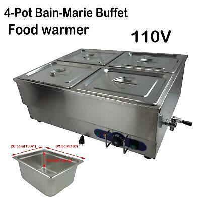 4-pots Commercial Bain-marie Buffet Food Warmer Stainless Steel Steam Table 110v