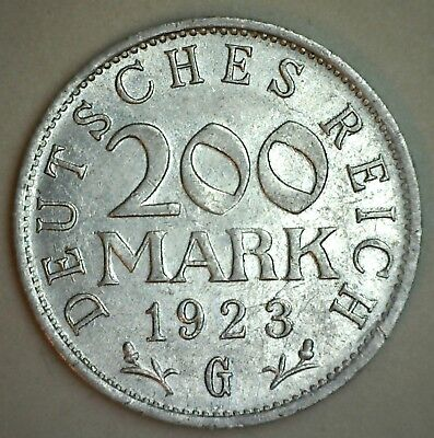 1923 F Germany 200 Mark Coin AU Almost Uncirculated Aluminum KM#35