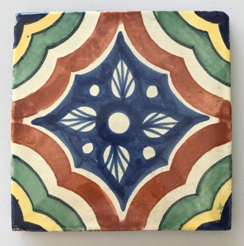 """Mexican Tile Glazed Ceramic Pottery Colorful Hand Painted Design Trivet 7-5/8"""""""