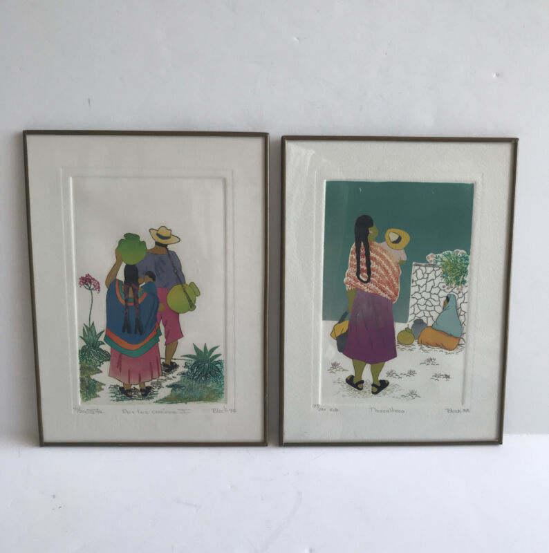 Domingo Block Mexican Folk Art Framed Hand Painted Pictures Set of 2 1988/90
