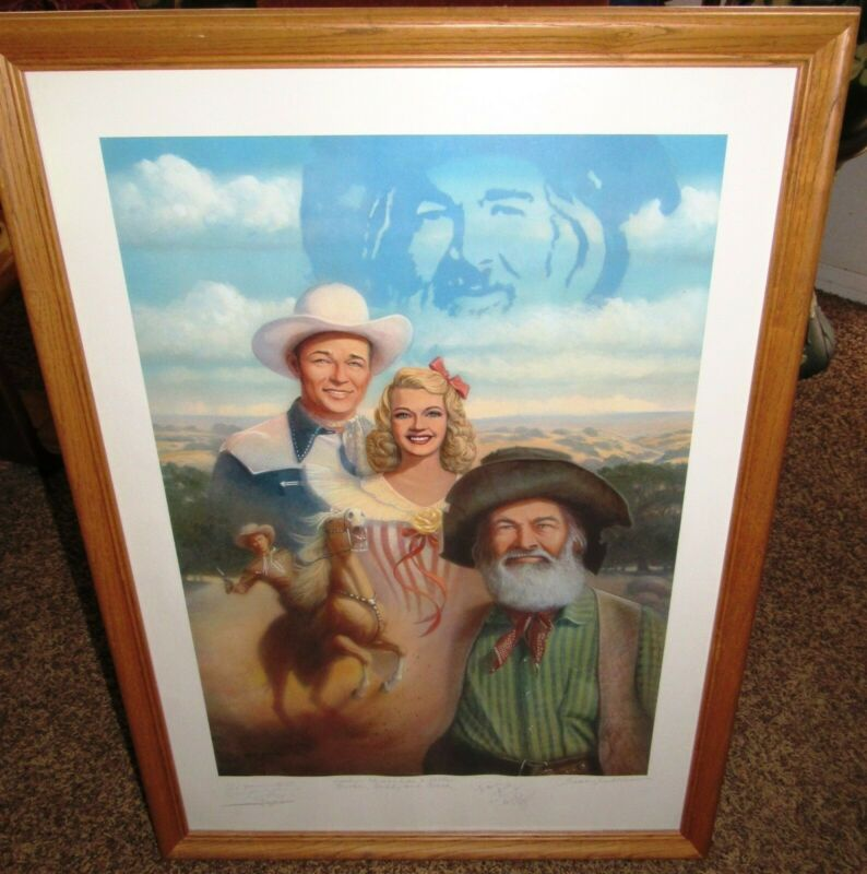 """ROY ROGERS DALE EVANS 25"""" X 35"""" FAMILY SIGNED POSTER FROM DAUGHTERS ESTATE SALE"""
