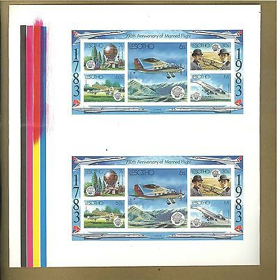 Lesotho #407 Manned Flight, Airplanes 1v Imperf Proof M/S of 5 Gutter Pair