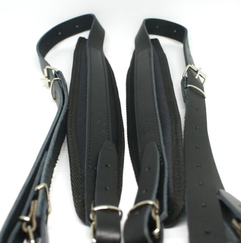 Genuine Leather Accordion Straps Black 80-120 Bass